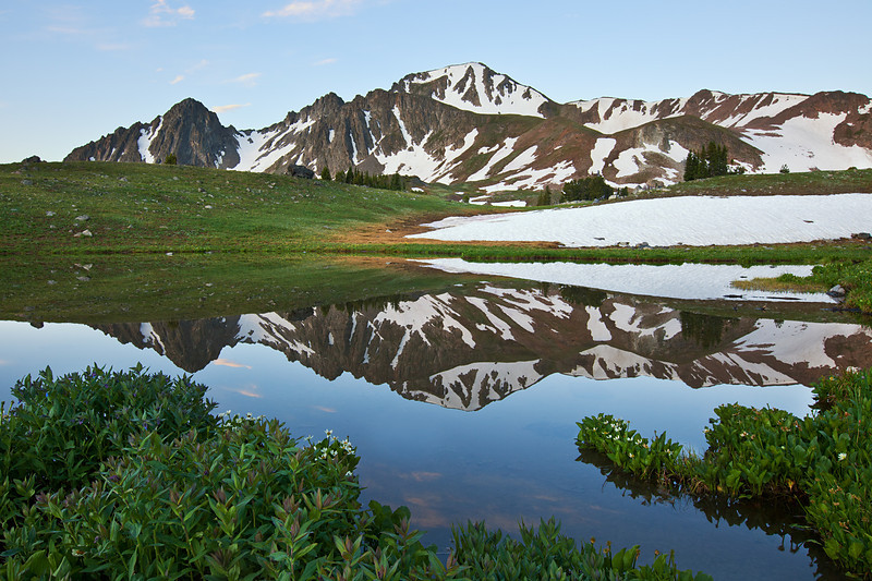 Echo Peak reflected in a pond, Hilgard Basin, Lee Metcalf Wilderness, MT