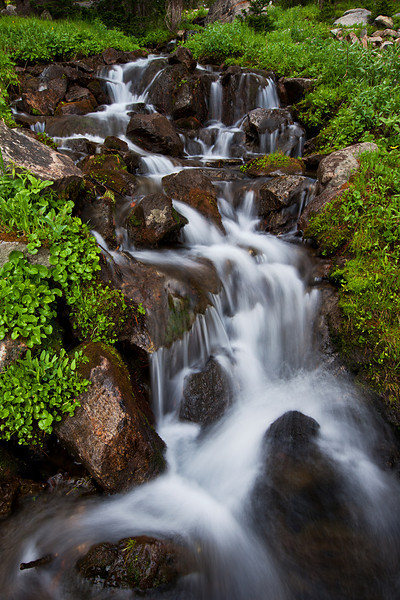 Small Mountain Waterfall at Blue Paradise Lake, Hilgard Basin,Lee Metcalf Wilderness, MT