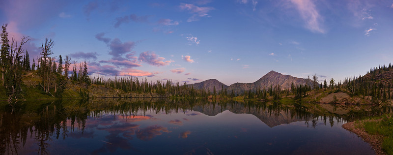 Sapphire Lake Panorama, Bob Marshall Wilderness, MT<br /> 11x28