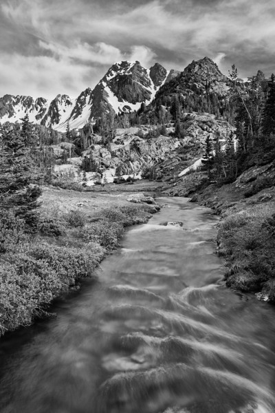 Black Mountain and The Headwaters of Pine Creek II, B&W version, Absaroka-Beartooth Wilderness, MT