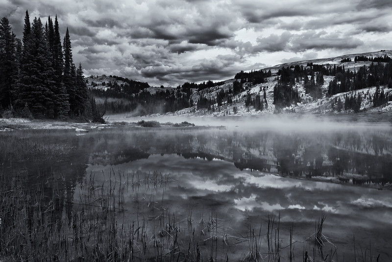 Mist Over Lake Columbine (BW)<br /> Absaroka-Beartooth Wilderness, Montana