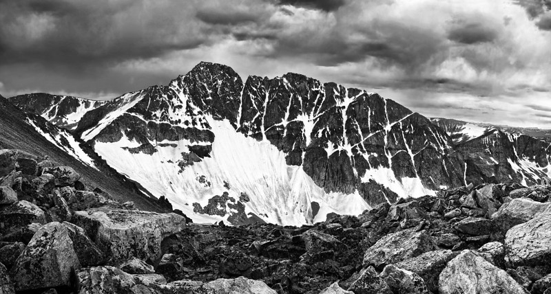 Granite Peak<br /> Elev. 12,800 ft, the highest point in Montana<br /> Panorama from 6 vertical photos.  This is a huge file with incredible detail and sharpness, and therefore doesn't compress well to the size needed for this low-res preview.  This will look fantastic printed big!