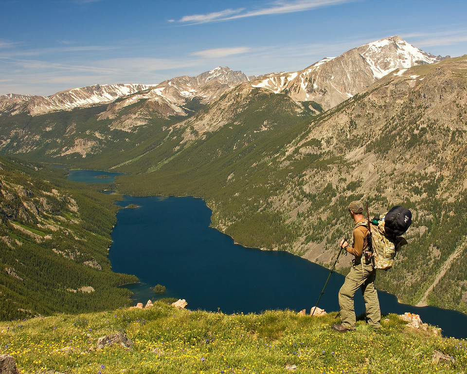 Backpacker Overlooking Mystic Lake, Absaroka-Beartooth Wilderness, MT