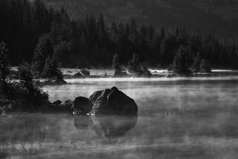 Mist over Lake Pinchot (B&W version) -  Lake Plateau, Absaroka-Beartooth Wilderness, MT