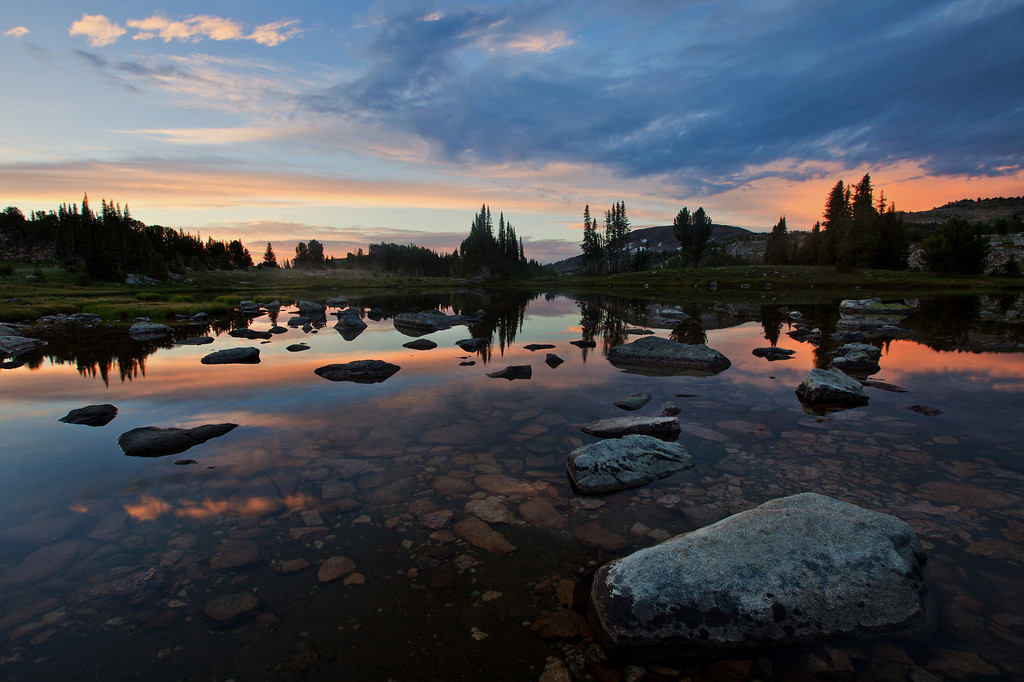 Lake Plateau Sunrise - pond above Lake Pipit, Lake Plateau, Absaroka-Beartooth Wilderness, MT