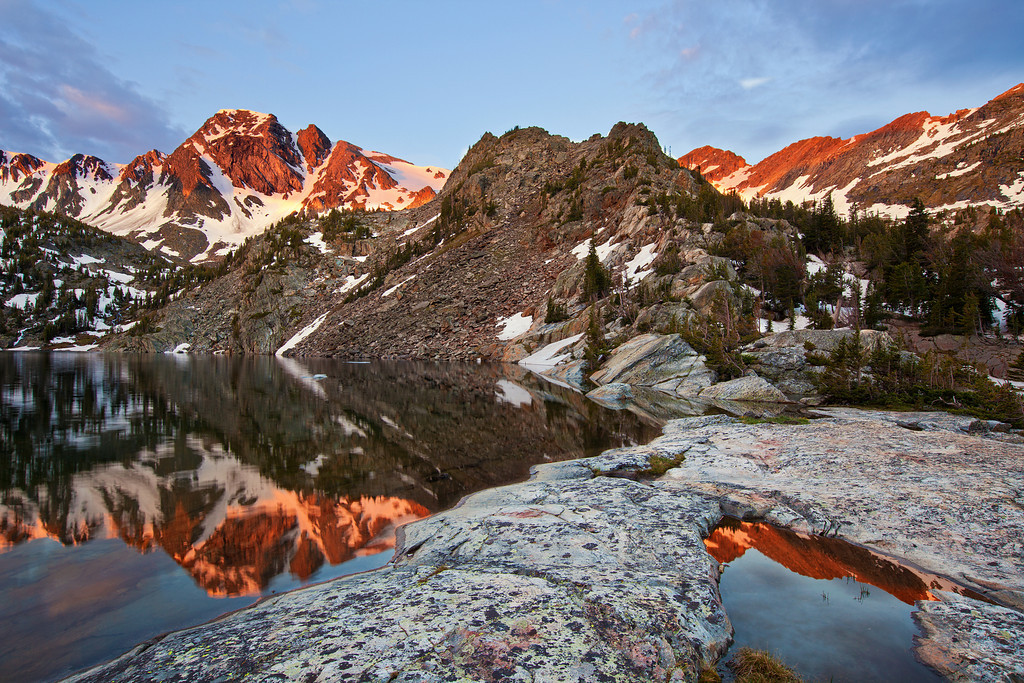 Sunrise and Reflections, Pine Creek Lake, Absaroka-Beartooth Wilderness, MT