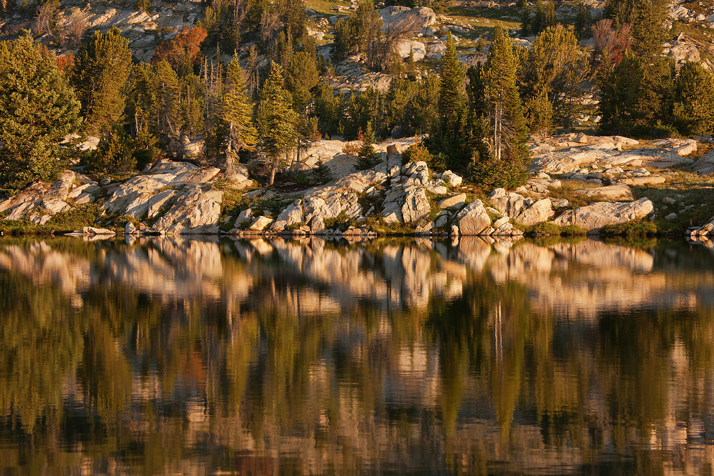 Reflections on one of the upper Rainbow Lakes, Lake Plateau Region, Absaroka-Beartooth Wilderness