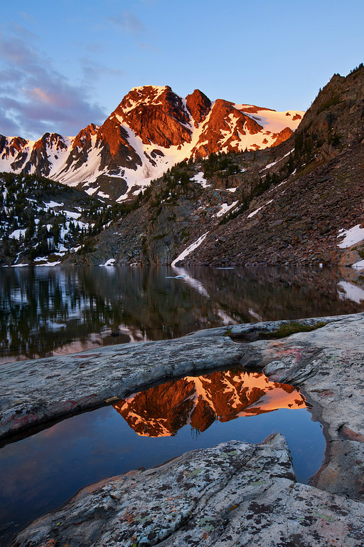 Reflections in Puddle - Sunrise at Pine Creek Lake<br /> Absaroka-Beartooth Wilderness, Montana