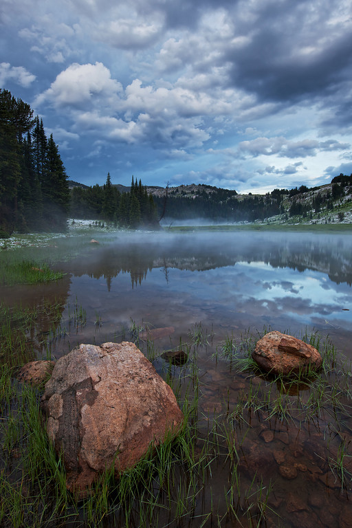 Lake Columbine Rocks and Mist after Hail Storm<br /> Absaroka-Beartooth Wilderness, MT