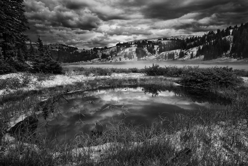 Small Reflecting Pond After Storm (BW)<br /> Lake Columbine, Absaroka-Beartooth Wilderness, MT