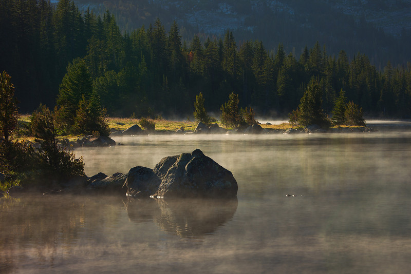Mist over Lake Pinchot, Lake Plateau, Absaroka-Beartooth Wilderness, MT