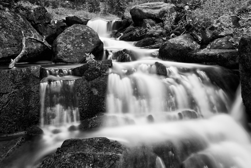 Falls Below Lake Columbine IV,  B&W version, Absaroka-Beartooth Wilderness, MT