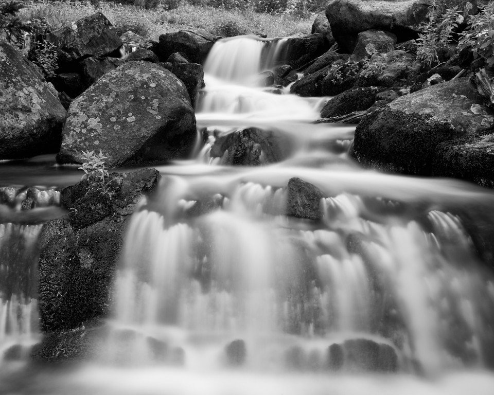 Falls Below Lake Columbine III, B&W version, Absaroka-Beartooth Wilderness, MT