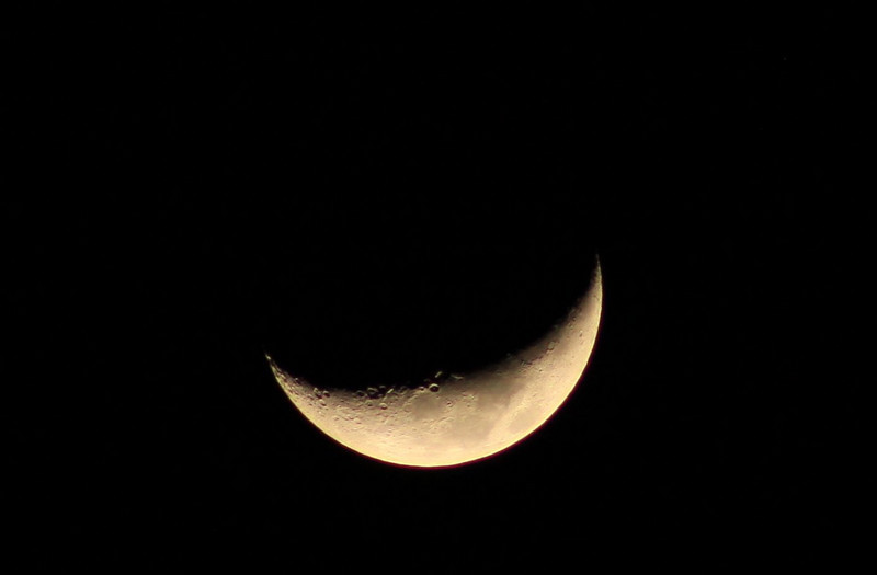 5 day old Waxing Crescent Moon. 22% visible 25% full.