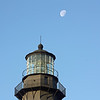 Waning Gibbous Moon at 79% of full<br /> Tybee Island Lighthouse<br /> December 25, 2010