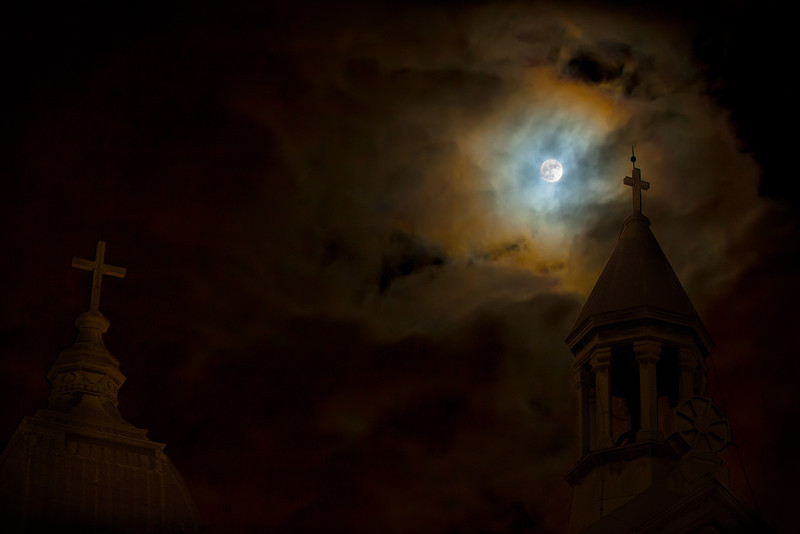 April 2012 full moon at Saint Augustine church in Montreal.