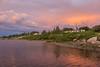 Moose River shoreline in Moosonee after sunrise.