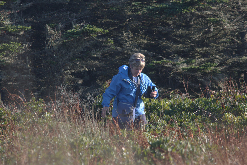 Gisele d'Entremont birding at Seal Island, Nova Scotia, Sep 2008