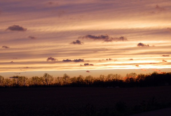 Hurricane Sandy's Sunset view from Indiana, looking west.