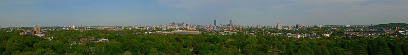 Boston skyline from the Tower at Mount Auburn Cemetery