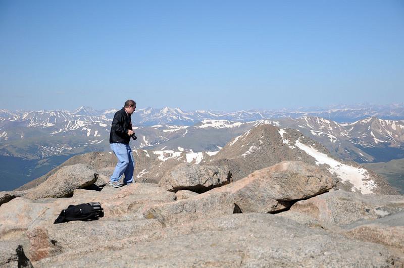 Andy looking down, way down, toward Summit Lake.