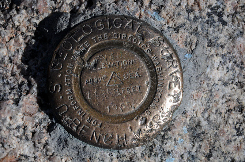 U.S. Geological Survey Benchmark. Eleveation 14,258 (later revised to 14,264) Feet Above Sea Level. 1955.