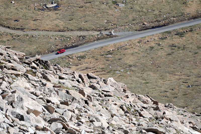From the top, cars coming up the Mt Evans Scenic Byway look like toys. Aircraft seem to be flying too low, as well.