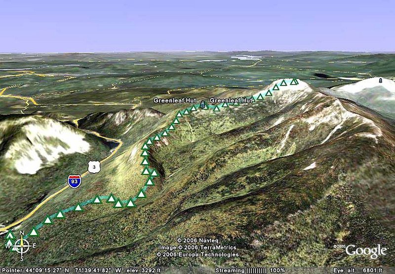 Our GPS track to hut and summit superimposed onto google Earth