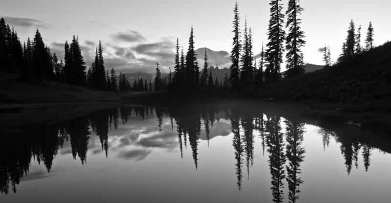 Mt Rainier sunset from Lake Tipsoo BW