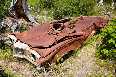 Miner's Car exhibit by Meta Lake along NF-99.  The vehicle was a 1972 Pontiac Grand Prix that was hurled 60 feet in the air to this spot by the May 18, 1980 eruption.  Sadly, the vehicle's owners were in a nearby cabin and were among the 57 people killed that day.