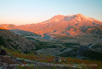 Mt. St. Helens at sunset.  Photo taken from the Loowit Viewpoint in July 2017.