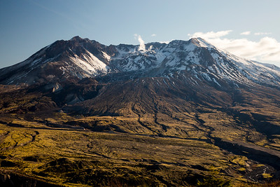 Steam ascends from the dome in the crater of Mt. St. Helens. Photo taken from the Boundary Trail near Johnston Ridge in late October 2019.