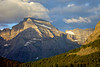 Shadows and light play across Mount Gould as seen from Many Glacier in Glacier National Park.