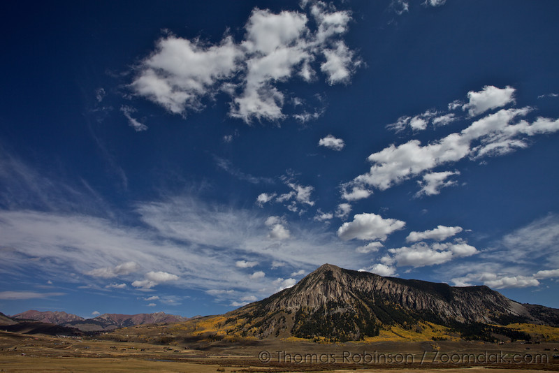Clouds float above this mountain near Gunnison, Colorado.