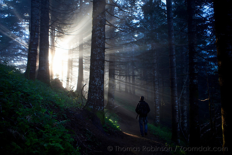 Jan Fer walks through the sun beams (Crepuscular rays) along the Saddle Mountain trail.