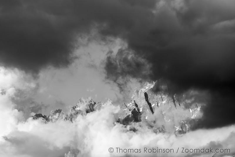 Mont Blanc Massif Black and White