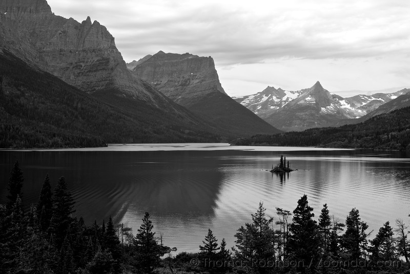 Wildgoose Island stands upon the ripples across Saint Mary Lake, the second largest lake in Glacier National Park, Montana.