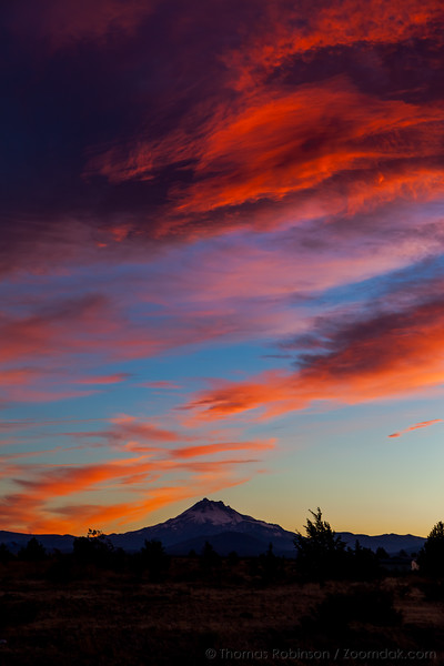 Vibrant Sunset with Mt. Jefferson, Vertical