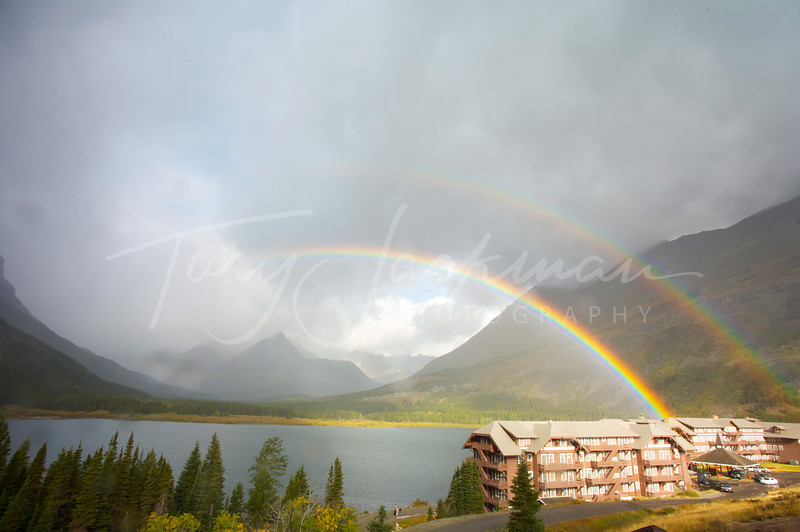 Double Rainbow over Many Lakes Lodge, Glacier National Park