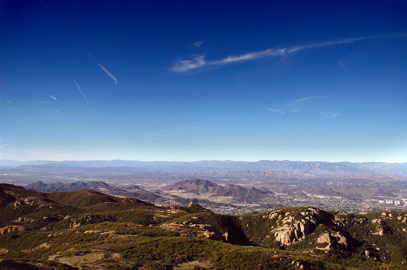 Looking northeast towards Oxnard (to the left) and Ventura (to the right) from the summit.