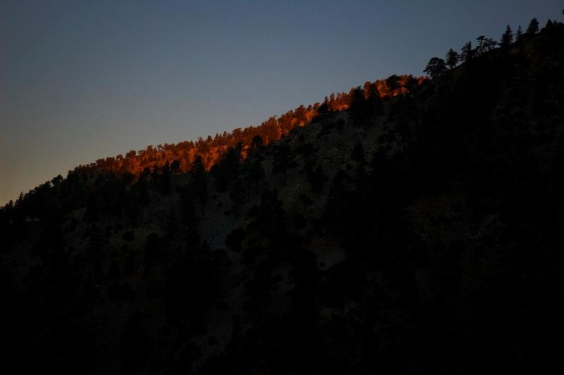 Sunrise over the western ridge.