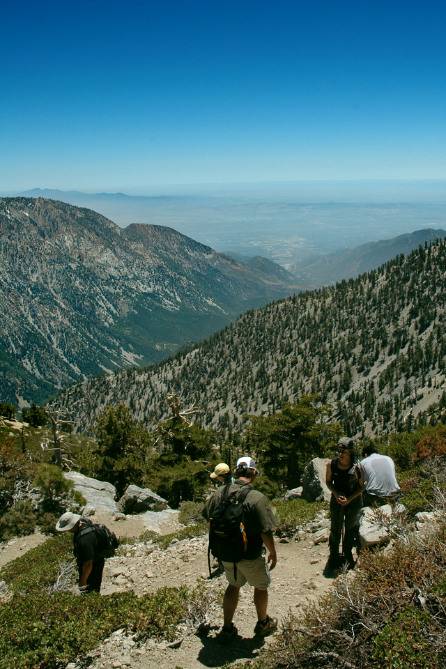 Heading up to the summit, I believe we were at about 8000' at this point. In the distance is Upland/Pomona.