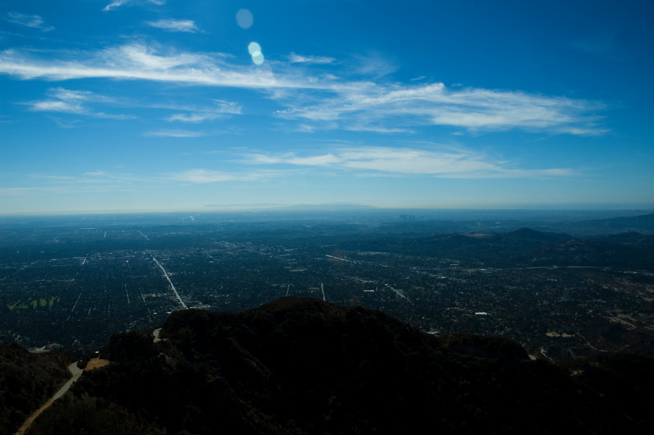 Heading up the old Mt. Lowe Railway, I was shocked that not only could I see the ocean (horizon line right), downtown LA (horizon, right of center), but Catalina (horizon left of center)