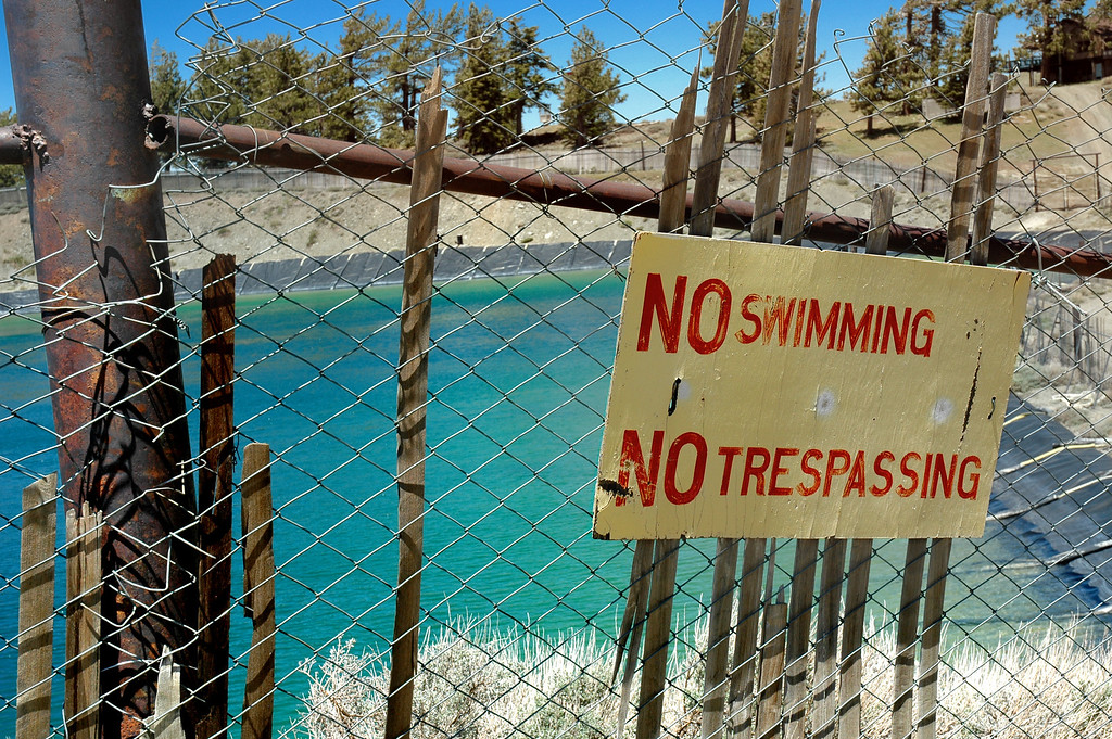 No swimming sign at the Mt. High snow water reservoir.