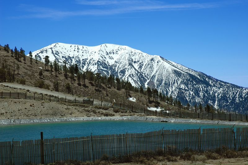 Mt. Baldy from the Mountain High snow water reservoir.