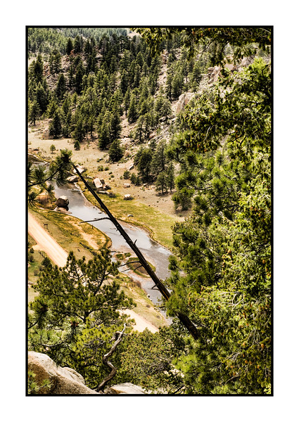 One view looking down at the S. Platte River from a point high above in Eleven Mile Canyon in Colorado.  view the detail in the larger sizes.