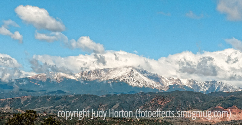 Pike's Peak with a watercolor effect