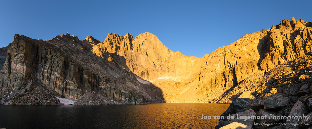 Chasm lake and Longs peak horizontal panorama