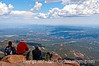 Admiring the view from the top of Pike's Peak looking toward the east, where you can see five states.