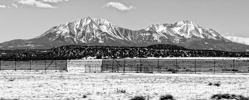 The Spanish Peaks of Southern Colorado; best viewed in the larger sizes; shot from our moving car